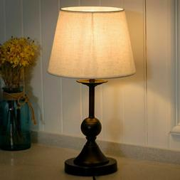 "10"" Antique Brass Bedside Table Lamp w/ LED Bulb Office Bedr"