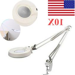 10X Desk Clamp Mount Magnifier 2in1 Table Lamp Magnifying Le
