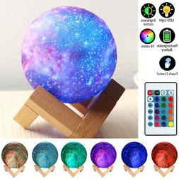 16 Colors 3D Moon Night Light Table Lamp USB Charging Remote