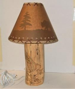 18 inch Tall Rustic Log Lamp W/ Pyrography  design of Eagle