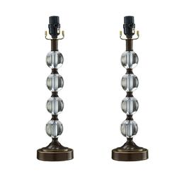 "18"" Stacked Glass Ball Table Lamp Base, Bronze Finish, set o"