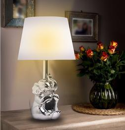 "Kanstar 19"" Ceramic Elephant Gold Silver Finish Table Lamps"