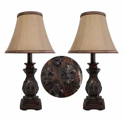 "19""H Set of 2 Traditional Dark Bronze Small Table Lamp Conso"