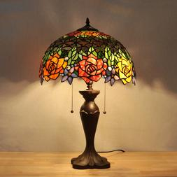 Vintage Tiffany Stained Glass Table Lamp Flower Study Bedroo