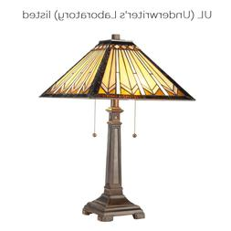 2-Light Tiffany Style Table Lamp Art Glass Geometry Shape De