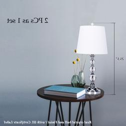 2 pcs Table Lamp Stacked Crystal Ball White Fabric Shade Rot