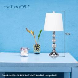 2 X Deluxe Table Lamp Crystal Ball White Fabric Shade with I