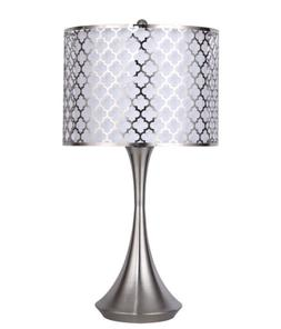 "24"" Brushed Nickel Accent Table Lamp w/ Metal Forrest Drum S"