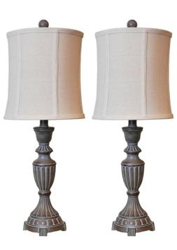 Mestar Decor 25 inch Whitewash Rustic Table Lamp Set-Pack of