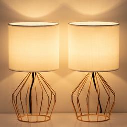 2PCS Table Lamp Desk Light Rose Gold Metal Hollowed Base Lin