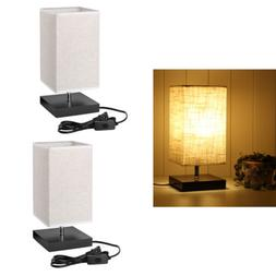 2pcs Table Lamps Minimalist Solid Wood Bedside Lamp With Squ