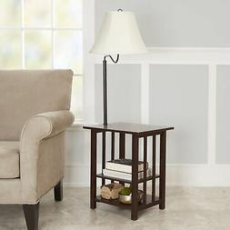 3-Rack End Table Floor Lamp Espresso Finish Home Decor Bette