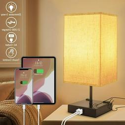 3-Way Dimmable Touch Control Table Lamp with 2 USB Charging