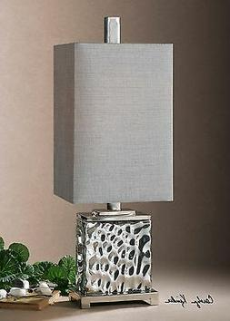 NICKEL PLATED WATER GLASS TABLE LAMP METAL ACCENTS SILVER GR