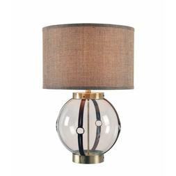 Kenroy Home 33019AB Tanner Table Lamp, Clear Glass w/Taupe M