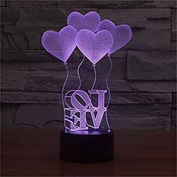 3D Illusion 4 Love Heart Balloons Night Light,USB 7 Colors C