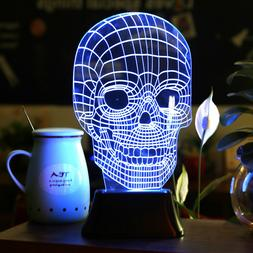 3D Illusion Bulbing Skull Lamp Acrylic LED Night Light Micro