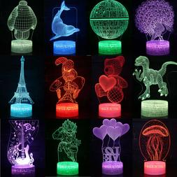 3D illusion Visual Night Light 7 Colors Change LED Desk Tabl