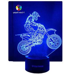 WANTASTE 3D Motocross Lamp, Optical Illusion Night Light for