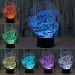 Mario 3D LED illusion Acrylic Table Desk Night Light Lamp Ch