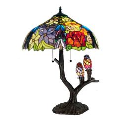 4 Light Tiffany Style Table Lamp Hand Cut Stained Glass Bird