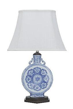 "Aspen Creative 40094, 26"" High  Ceramic Table Lamp, Blue & W"