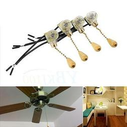 4Pcs/Set Ceiling Fan Lamp Wall Table Floor Bedside Light Pul