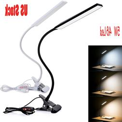 5W Dimmable Clip-On LED Desk Lamp Flexible Reading Light