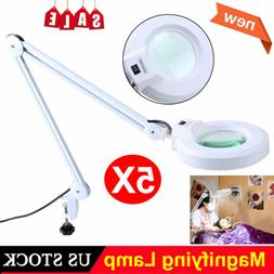 5x Diopter  Magnifier Desk Table Clamp Mount Lamp Light Magn