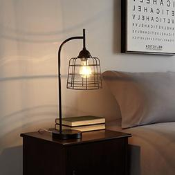Urban Shop 784857776812 Caged Metallic Table Lamp, Black