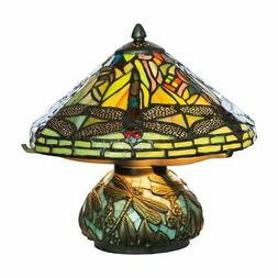 River of Goods 9578 Stained Glass Dragonfly Table Lamp with