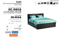 Queen size IKEA high bed frame with 4 storage boxes