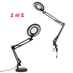 Adjustable Clamp Mount Swing Arm Glass Magnifying Hobby Desk Table Lamp Light