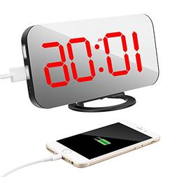 """TISSA Alarm Clock with Dual USB Port and Charger, 6.5"""" Large"""