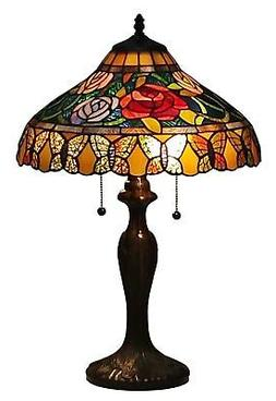 Amora Lighting AM060TL16 Tiffany Style Roses And Butterflies