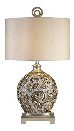 OK LIGHTING 12.25 in. Champagne Gold with Silver Vine Table