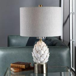 Artichoke Ceramic Table Lamp White Crackled Glaze Crystal De