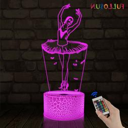 Ballet Dancing Gifts 3D Night Light,Remote Control 16 Color,
