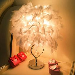 Bedroom Table Desk Lamp Feather Shade Light Home Commercial