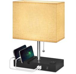 Bedside Lamp 3 Phone Stand Base Modern Table Lamp with Natur