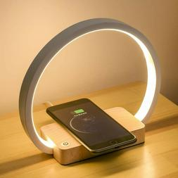 Bedside Lamp Wireless Charger LED Desk Lamp with Touch Contr
