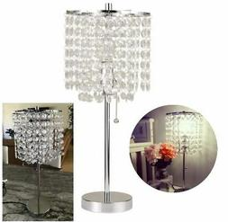 """Bedside Table Lamp 20.25""""H Nightstand Chrome Crystal Chandel"""
