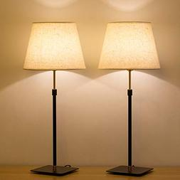 HAITRAL Bedside Table Lamp - Liftable Adjustment Desk Lamps