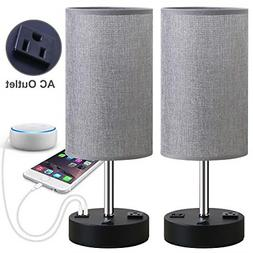 Bedside Table Lamp Nightstand Lamps Dual USB Charging Ports