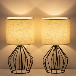 Bedside Table Lamp Nightstand Lamps Pair Modern Style with L
