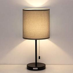 HAITRAL Bedside Table Lamp - Minimalist Desk Lamp with Fabri