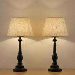 Bedside Table Lamp Set of 2 - Modern Nightstand Lamps for Ro