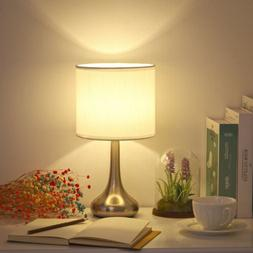HAITRAL Bedside Table Lamp -Small Modern Nightstand Lamp wit
