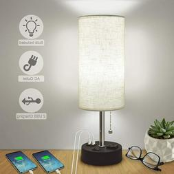 USB Table Lamps for Bedroom,Bedside Lamp with Dual Charging