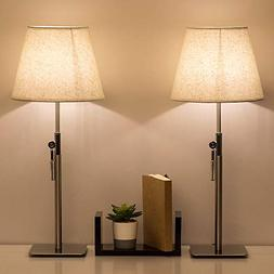 HAITRAL Bedside Table Lamps - Simple Desk Lamps Set of 2 Lif